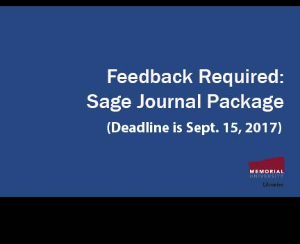 Final Reminder: Consultation required on the Sage Journal Package