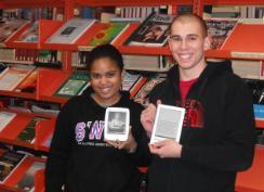 Grenfell students holding Sony and Kobo eBook readers